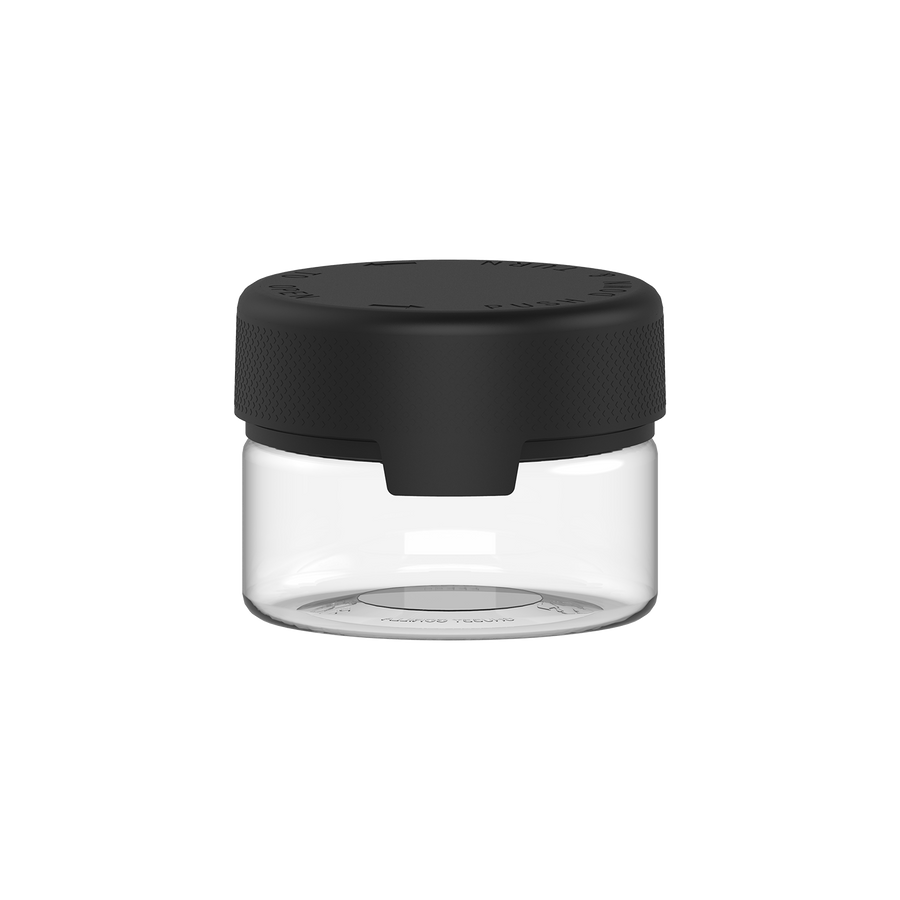 220CC/7.5FL.OZ/220ML Aviator CR - XL Container With Inner Seal & Tamper - Clear Natural With Opaque Black Lid - Copackr.com