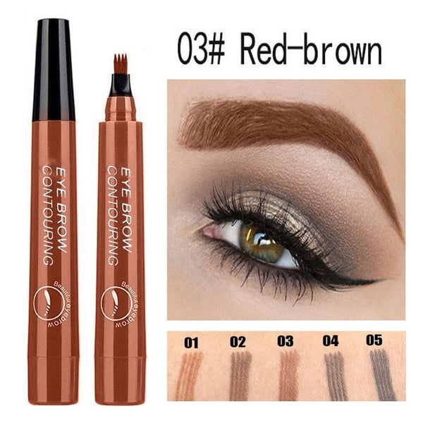 5 Styles Natural 4 Point Eyebrow Pencil Fine Sketch Eyebrow Tattoo Pen Long-wearing Waterproof Four Fork Eyebrow Pencil TSLM1