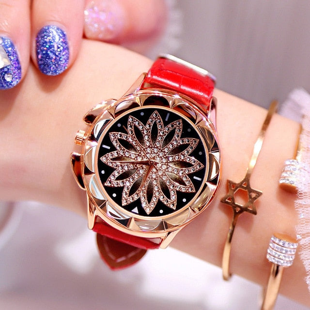 1PCs Rhinestone Women Quartz Watches Ladies Watch Leather Big Dial Crystal Diamond Flower Clock Fashion Bracelet Wrist Watch