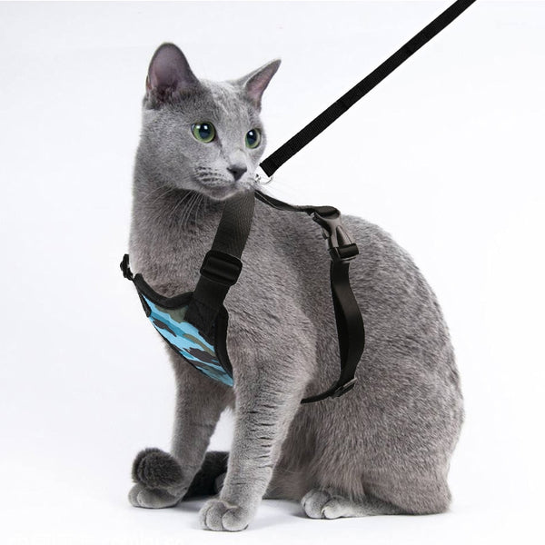 Cat Collar Harness and Leash Set Nylon Pet Traction Adjustable Comfort Soft Breathable Cat Harness Pet Vest Rope