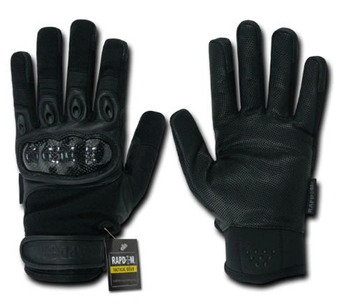 Carbon Fiber Knuckle Tactical Glove, Black, Large