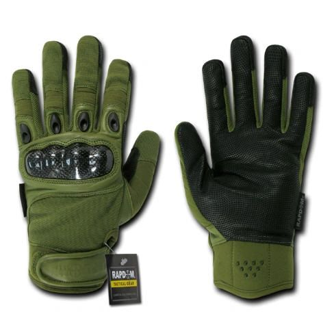 Carbon Fiber Knuckle Tactical Glove, OD Green, Medium