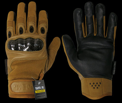 Carbon Fiber Knuckle Tactical Glove, Coyote, Medium