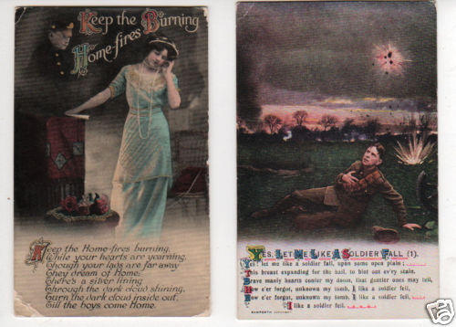 Lot of 2 POSTCARDS, Dream Cards, HOME FIRES & SOLDIER FALL