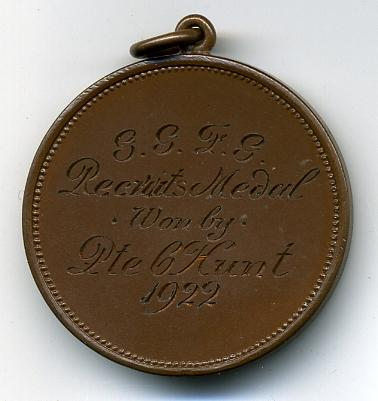 1922 RIFLE SHOOTING Medal, Governor Generals Foot Guard