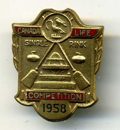 Curling Pin: Canada Life Competition 1958