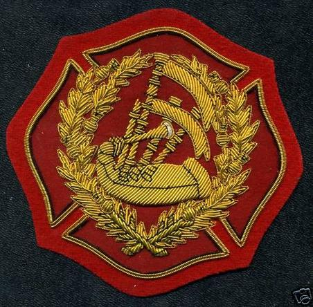 Gold Wire, PIPE MAJOR Fire Dept, Badge of Appointment