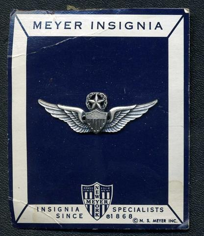 USA: Command Pilot Badge on Card of Issue