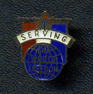 Sterling, WW2 1 Serving For World Freedom Lapel Pin