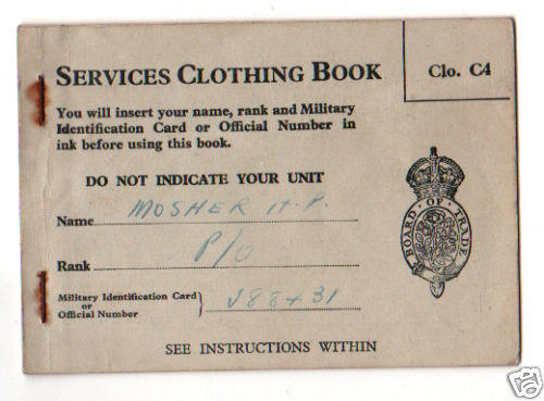Canada SERVICE CLOTHING BOOK Pilot Officer MOSHER RAF