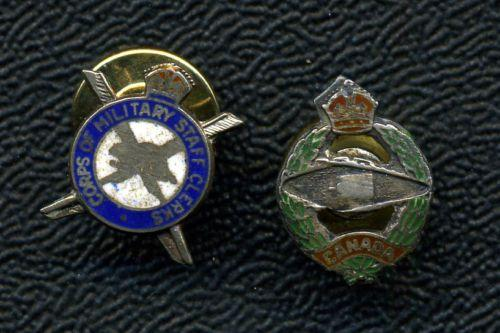 Military Staff Clerk & Armoured Corps Sweetheart Pins