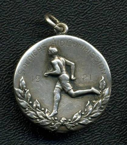 1921 SOLDIERS AID COMMISSION Sports Medal HARRIS Silver