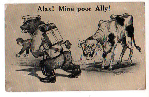 Propaganda Postcard Alas! Mine poor Ally Germany Russia