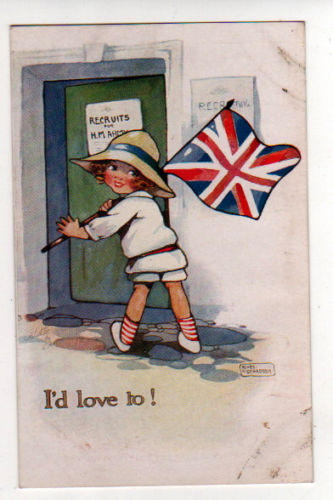 Postcard Recruiting Cartoon I'd Love To!. Union Jack