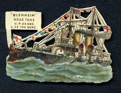 Circa 1890's HMS Blenheim Crusier Embossed Card