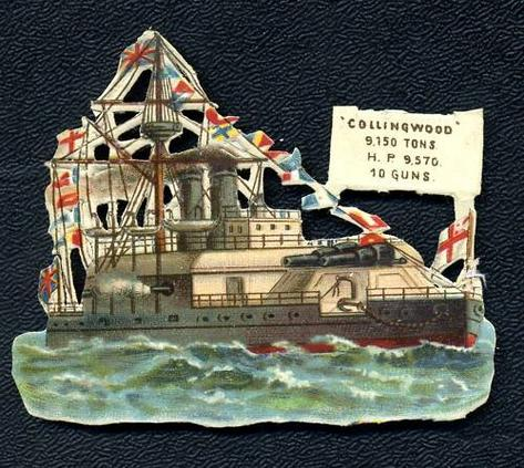Circa 1880's HMS Collingwood Battleship Embossed Card