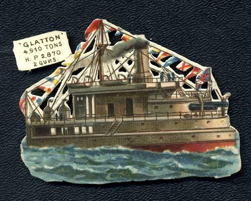 Circa 1890's HMS Glatton, Turret Ship Embossed Card