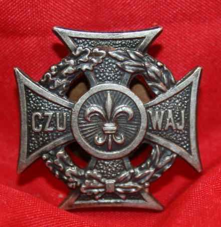 POLISH Boy Scout Pin CZU WAJ Cross design