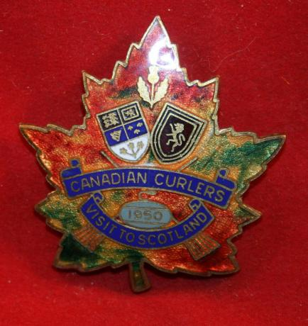 Beautiful, Canadian Curlers Visit to Scotland 1950 Pin / Badge