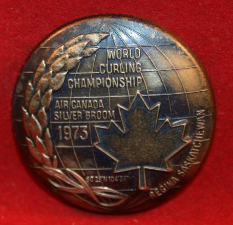 WORLD CURLING CHAMPIONSHIP AIR CANADA SILVER BROOM Award Pin 1973