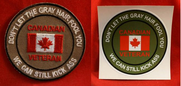 Novelty Canadian Veteran Sticker / Decal & Sew on Patch lot