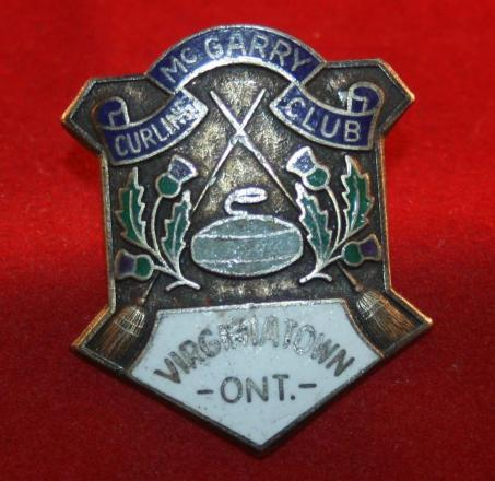 Mc GARRY CURLING CLUB, VIRGINIATOWN, ONT, Sterling Curling Pin