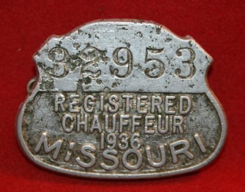MISSOURI, 1936 CHAUFFEUR license Badge. Numbered.