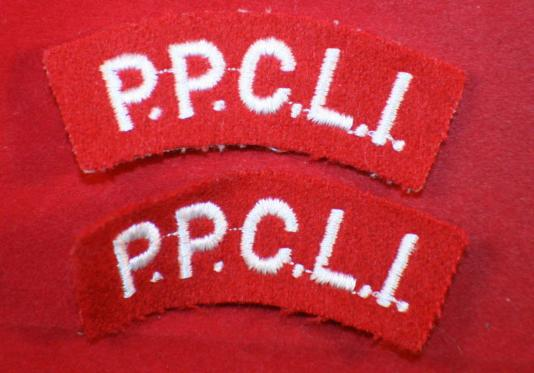 PPCLI Princess Patricia's Canadian Light Infantry Cloth Shoulder Flash Pair