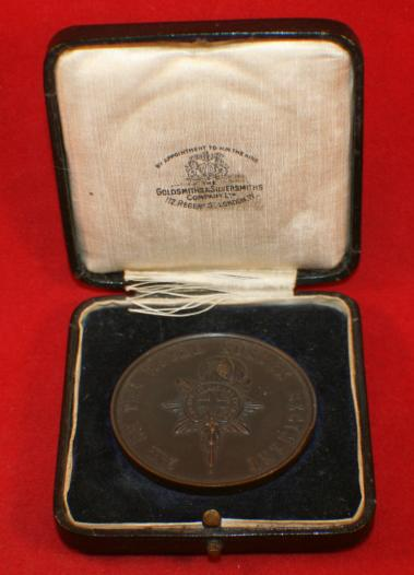 2nd Bn ROYAL SUSSEX REGIMENT 1925 Football Medallion Gold & Silversmith With BOX