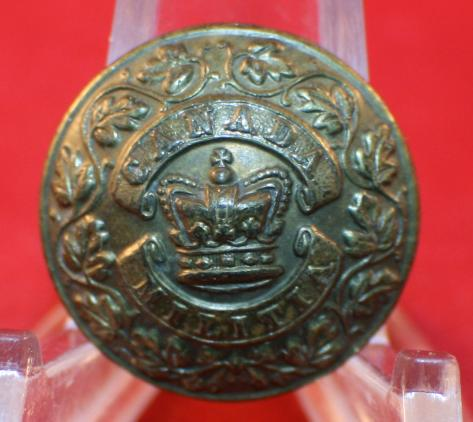 CANADA MILITIA Uniform Button - Victorian Crown Centre Design - 1870's/80's era