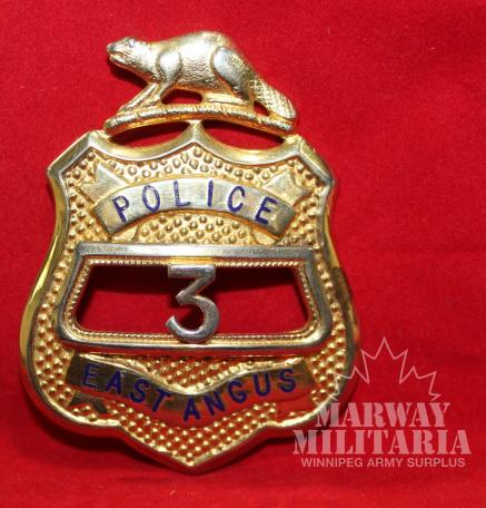 East Angus Quebec, number 3 Police Shield Badge