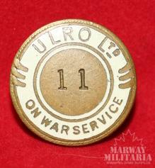 WW1 ULRO LTD On War Service Lapel Pin