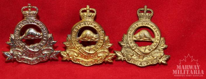 Royal Canadian Army Pay Corps Collar Badge Lot