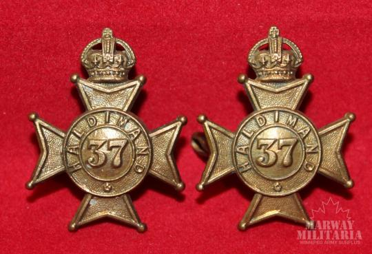 Pre WW1 37th Haldimand Regiment Collar Badge Pair