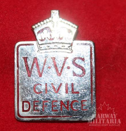 WVS Womens Volunteer Service CIVIL DEFENCE members pin