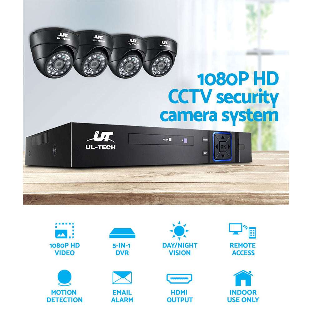 UL-tech CCTV Camera Security System Home 8CH DVR 1080P IP Day Night 4 Dome Cameras Kit