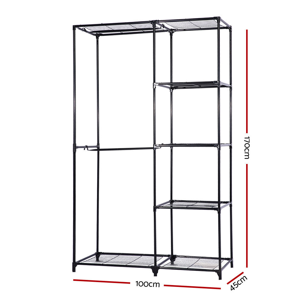 Portable Closet Organizer Storage Clothes Hanger Rail Garment Shelf Rack Black