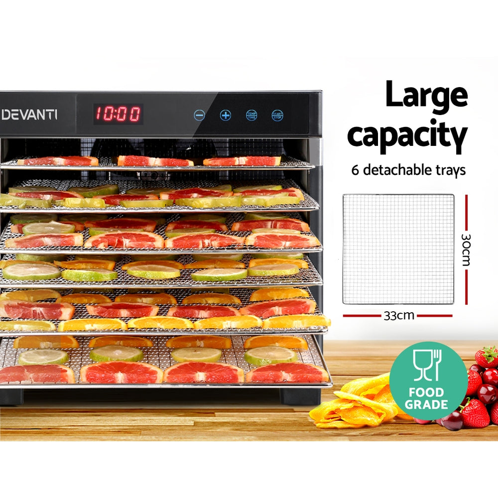 DEVANTi 6 Trays Commercial Food Dehydrator Stainless Steel Fruit Dryer