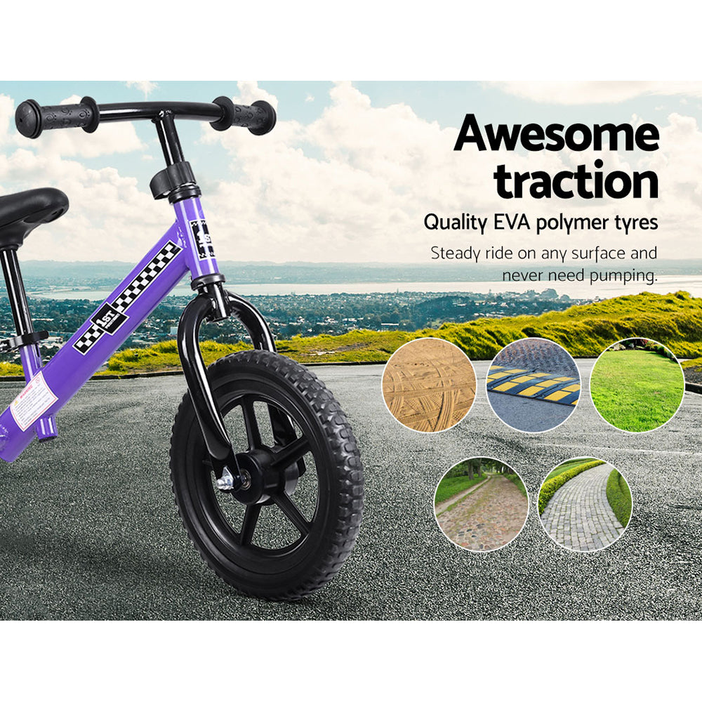 "Kids Balance Bike Ride On Toys Push Bicycle Wheels Toddler Baby 12"" Bikes Purple"