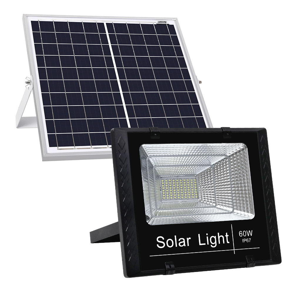 LED Solar Lights Street Flood Light Remote Outdoor Garden Security Lamp 60W