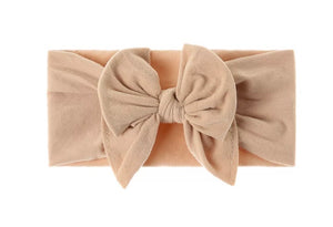 DOUBLE BOW BEIGE  nylon headband - newborn to adult