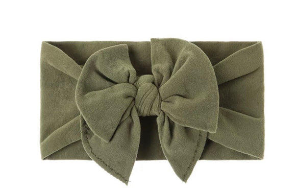 DOUBLE BOW KHAKI nylon headband - newborn to adult