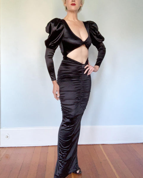 The Ultimate 1980s Stretch Satin Bodycon Vintage Vamp Gown with Cut-Out Midsection