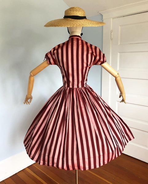 "1950s ""Anne Fogarty"" Striped Woven Polished Cotton Day Dress with Pussy Bow Neckline & Tie Sleeves"