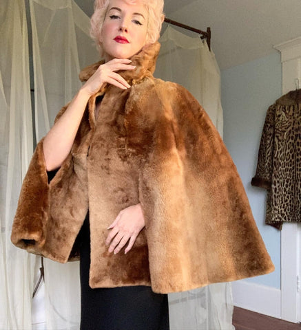 Luxurious 1930s Custom Made Sheared Sable Fur Cape