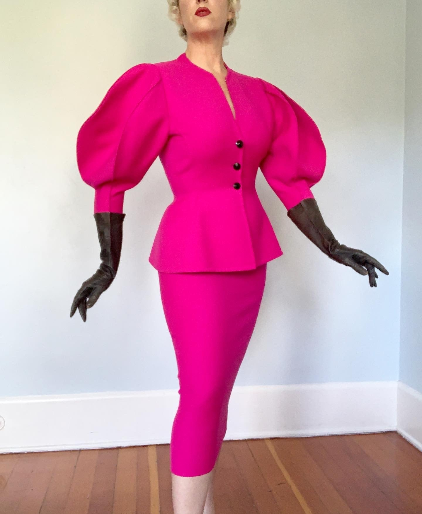 1980s Shocking Pink Wool Hourglass Cocktail Suit with Balloon Sleeves