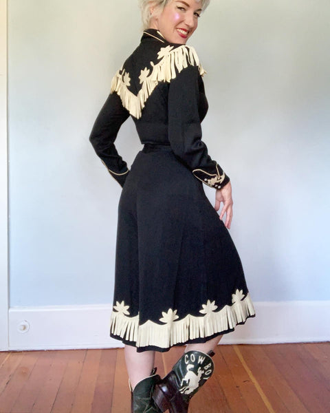 "1940s Rayon Gabardine & Suede 2 Piece Cowgirl Ensemble by ""California Ranchwear Los Angeles"""