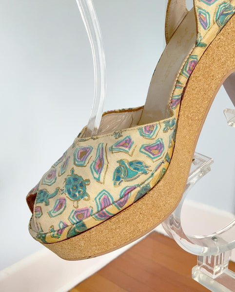 "1940s Cork Platform High Heel Ankle Strap Sandals with Turtles Novelty Print by ""Heavenly Styled by Du Barry"""