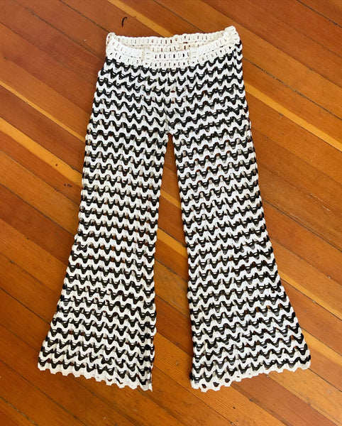 One of a Kind 1970s Custom Made Low Rise Plastic Loop Bell Bottom Pants
