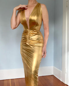 "Custom 1950s Metallic Gold Liquid Lame' Bombshell Gown by ""HJ Marx of Beverly Hills"""